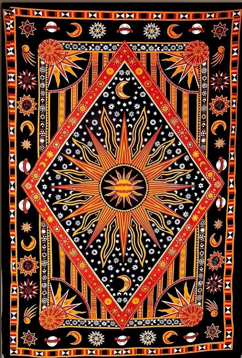 THE ART BOX Purple Hippie Mandala Sun Moon Burning Sun Psychedelic Trippy Tapestry for Bedroom Celestial Busning Sun Tapestry Bohemian Wall Hanging Planet Tapestry