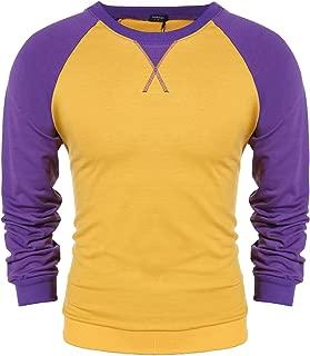 Men's Casual Raglan Fit Soft Baseball Long Sleeve Henley T-Shirts Tee Polo