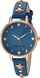 Women's NW/2126RGBL Star Accented Rose Gold-Tone and Blue Strap Watch