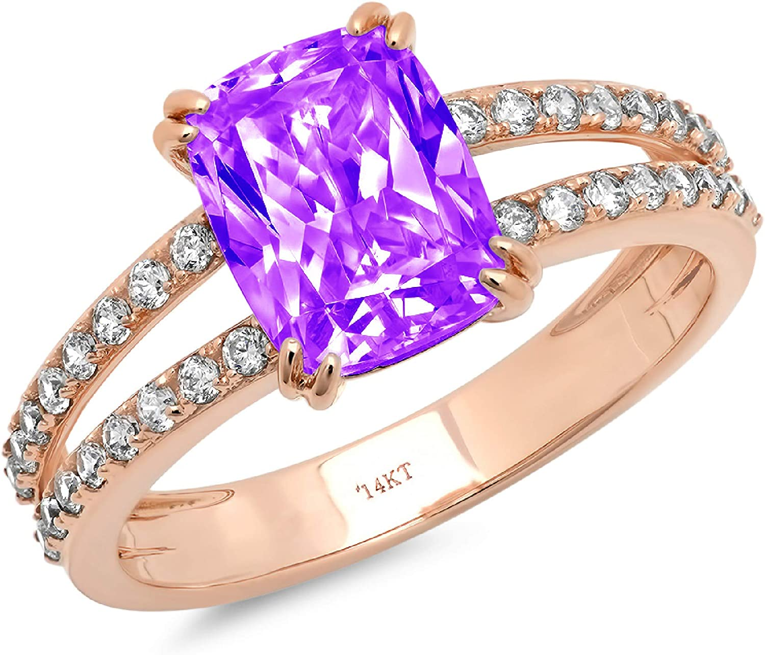 3.47ct Brilliant Cushion Cut Solitaire with accent Natural Purple Amethyst Gem Stone VVS1 Designer Modern Statement Accent Ring Solid 14k Rose Gold Clara Pucci