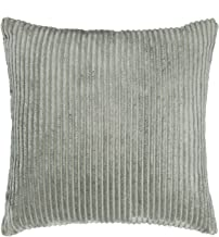 SUNOOMY Supersoft Handmade Decorative Striped Velvet Square Throw Cushion Pillow Case Cover Sofa Couch Bed Chair,Light Grey,20x20(50cm)