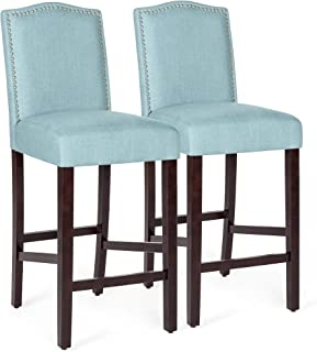 Best Choice Products Set of 2 30in Upholstered Linen Counter Height Armless Bar Stool Chairs w/Studded Trim Back -Blue
