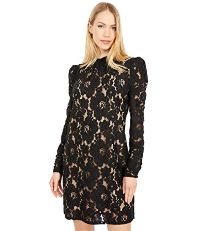 WAYF Erika Puff Sleeve Dress (Black) Women