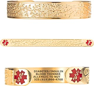 Divoti Custom Engraved Medical Alert Bracelets for Women, Stainless Steel Medical Bracelet, Medical ID Bracelet w/Free Engraving - Lovely Filigree Olive w/ 6