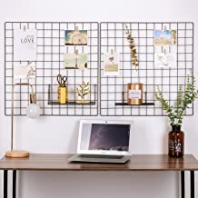 Kaforise Painted Wire Wall Grid Panel, Multifunction Photo Hanging Display and Wall Storage Organizer, Pack of 2, Size:23.6