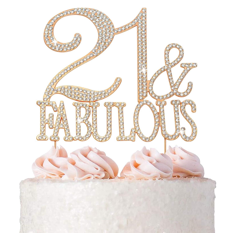21 Cake Super-cheap Topper - Premium Rose Metal. 21st and Gold Fabul Bday Nippon regular agency