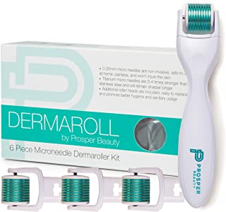 Derma Roller Microneedle 6 Piece Kit [DERMAROLL by Prosper Beauty] Face Roller with 4 Replaceable Heads Exfoliation Microdermabrasion Micro Derma Skin Care Tool Dermaplaning Dermapen Microneedling
