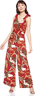 ONLY women's Lima Floral Overalls in Merlot, Size: 34 EU (Manufacturer Size:XS)
