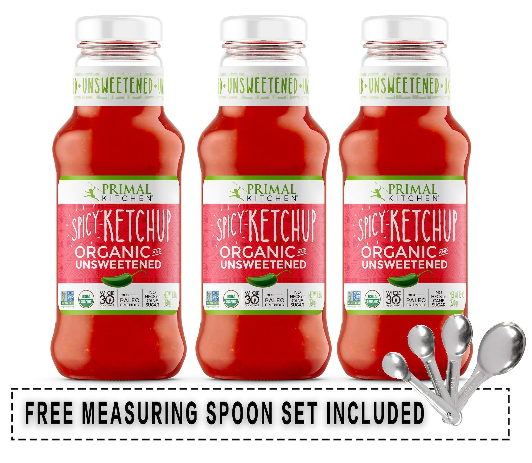 Primal Kitchen Organic Spicy Unsweetened Ketchup Usda Organic Whole 30 Paleo Gluten Free Non Gmo Keto Friendly 11 3 Fl Oz Pack Of 3 W Free Measuring Spoon Set Buy Online In
