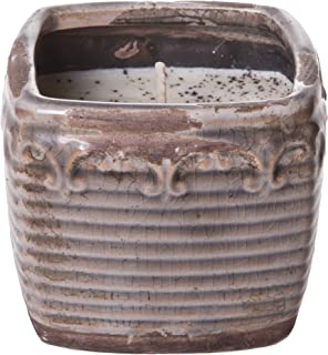 Swan Creek 10 Ounce Lavender & Lemongrass American Soybean Wax Candle in Vintage Square Pottery