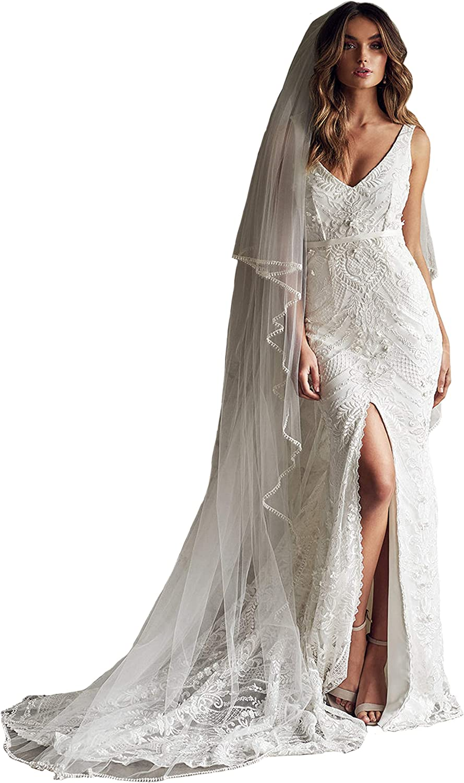 Passat 2Tiers 2M/3M Beaded Wedding Veil Ivory Cathedral Veil Rhinestone Edge Blusher Crystal Bridal Veil116