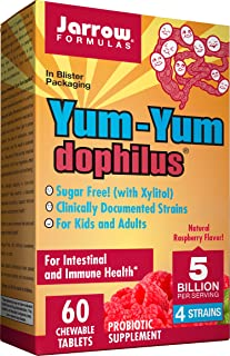 Jarrow Formulas Yum-Yum Dophilus 5 Billion Cells per Serving Chewable Tablets, Raspberry, 60 Count (Cool Ship, Pack of 3)