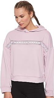 بلوزة هودي تيك تيري للنساء من اندر ارمور Pink (Pink Fog/White) (Manufacturer Size:Small)