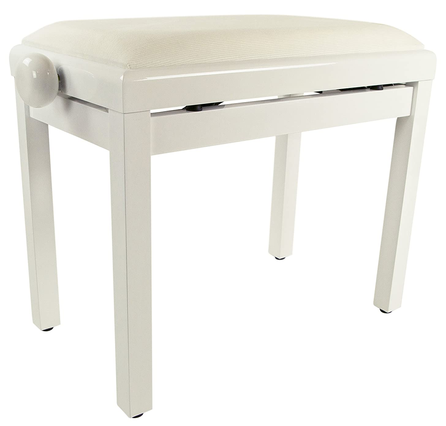 Gearlux Adjustable Piano Bench with Velvet Top - White Gloss