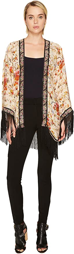 The Kooples - Kimono with Embroidered Flower Stripes and Fringes