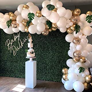 Balloon Garland Arch Kit, White Gold Confetti Balloons 101 PCS, Artificial Palm Leaves 6 PCS, Balloons for Parties, Party Wedding Birthday Balloons Decorations, Baby Shower Decorations for Girl Boy