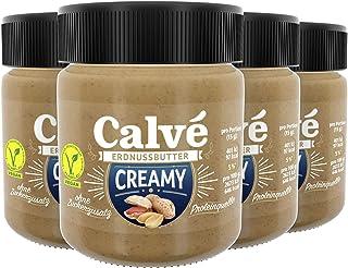Calvé Erdnussbutter crunchy im Glas, ohne Zuckerzusatz, 4er Pack (4 x 210g)
