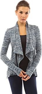 Women Marled Wrap Zip Up Drape Cardigan
