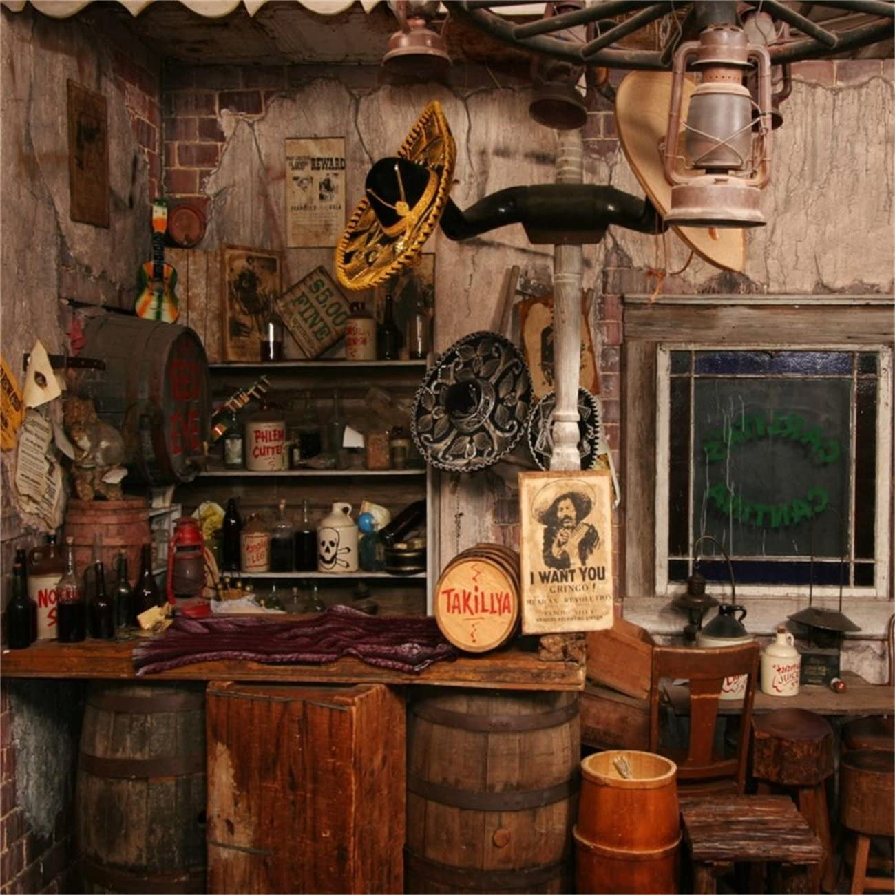 Western Frontier Town 15x8ft Vinyl Photography Backdrop General Store Saloon Old Hotel Stable Cowboy Party Background Studio Portraits Shoot Photo Prop Portraits Shoot Back Drop