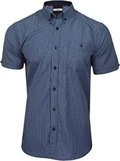Xact Men's Gingham Check Shirt with Button-Down Collar - Short Sleeved