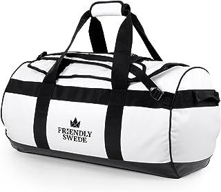 The Friendly Swede Wasserfeste Reisetasche Duffle Bag Rucksack - 30L / 60L / 90L - Seesack, Sporttasche Duffel Dry Bag mit Rucksackfunktion - SANDHAMN Weiß, 60L