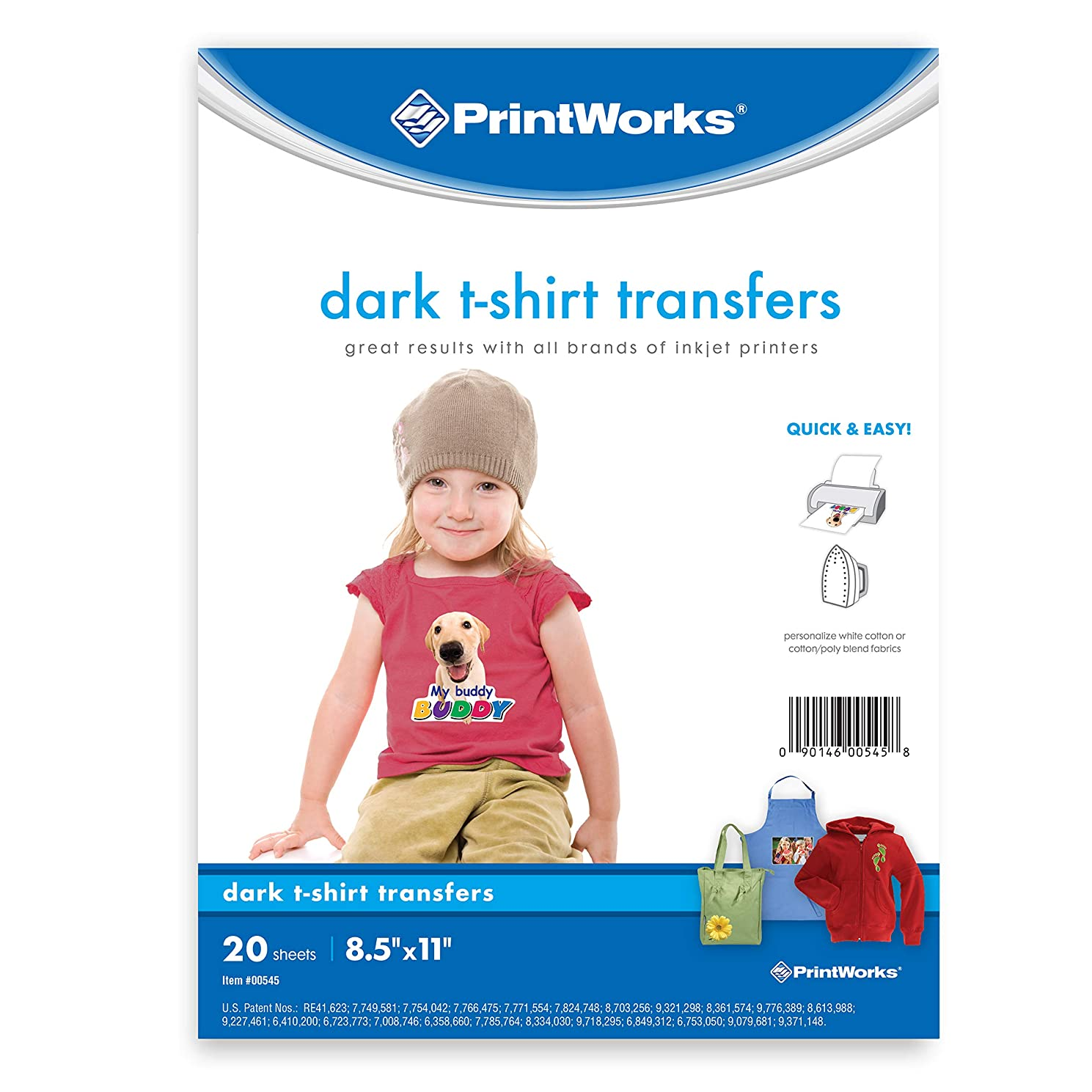 """Printworks Dark T-Shirt Transfers for Inkjet Printers, For Use on Dark and Light/White Fabrics, Photo Quality Prints, 20 Sheets 8 ?"""" x 11"""" (00545)"""