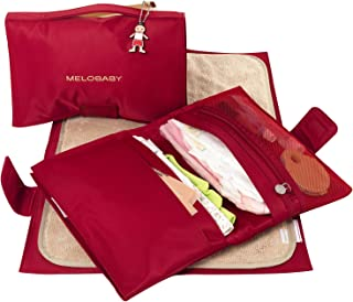 MELOBABY Melorouge Wallet and Mat Changing Pads, Red/Caramel