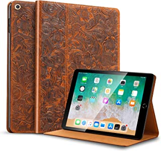 Gexmil iPad mini5 Case, Cowhide Folio Cover for iPad 7.9 inch Genuine Leather case (Pattern-Brown)