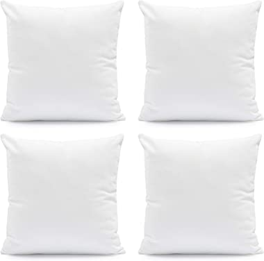 Hannah Linen Throw Pillow Insert: Set of 4 Soft, Bed Couch Sofa Pillows -Indoor Decorative Cushion - Square Pillows (White, 1