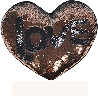 DECOSY Magic Reversible Heart Sequin Pillow 1 Piece with Pillow Insert, Mermaid Decorative Arrow Throw Pillow Cushion Cover - Valentine's Decor for Home Couch Sofa Chair Car (Light Brown)