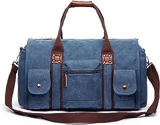 Vintage Große Weekender Schuhfach Reisetasche Sporttasche Damen Herren Segeltuch Leder Handgepäck für Wochenend Urlaub 2.0 blau
