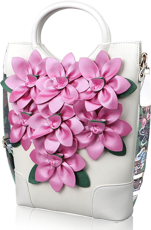 QTMY Fashion PU Leather Shoulder Tote Bag Top Handle Satchel Handbag Purse Crossbody Bag,White