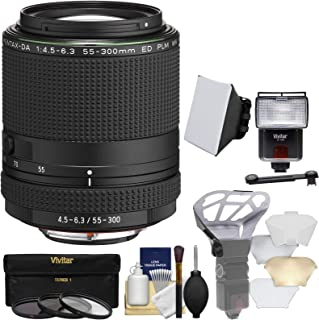 Pentax HD DA 55–300mm f / 4.5–6.3Ed PLM WR Reズームレンズwith 3UV/CPL / nd8フィルタ+フラッシュ& LEDビデオライト+ディフューザー+ソフトボックス+キット