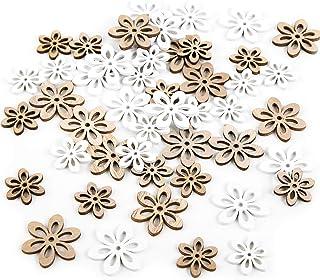 Logbuch-Verlag Set 45 Mini Blumen in weiß und Natur braun zum Streuen - natürliche Streudeko Blümchen Vintage Tischdeko Hochzeit Scrapbooking