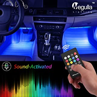 Underdash Lighting Kit, Megulla USB-Powered RGB Multi-Color LED Car Interior Lights with Sound Activation and Wireless Remote for Cars, Trucks, Pickups (4pc RGB Kit)