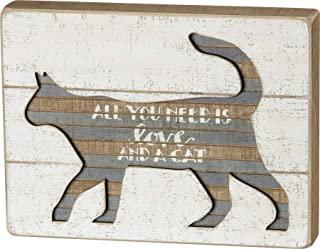 Primitives by Kathy Hand Lettered Slat Wood Box Sign, 10 x 7.5-Inches, All You Need Is Love And A Cat