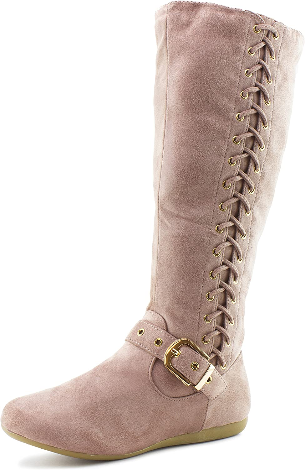 Link Mid Calf Side Zipper & String Faux Suede Flat Heel Boots (Adults)