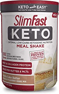 SlimFast Keto Meal Replacement Shake Powder, Vanilla Cake Batter, 11.01oz. Canister (10 servings)