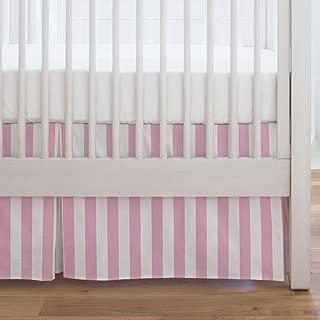 Carousel Designs Bubblegum Pink Stripe Crib Skirt Single-Pleat 17-Inch Length - Organic 100% Cotton Crib Skirt - Made in The USA