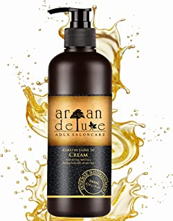 Argan Deluxe Keratin Leave-In care & styling in professional quality 8.11 fl oz - moisture, shine and smoothness, anti-fri...