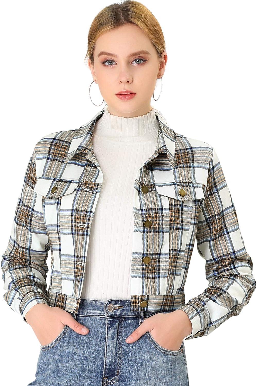 Allegra K Women Cropped Plaid Jacket Classic Vintage Button Front Closure Chest Pocket Crop Jackets Top
