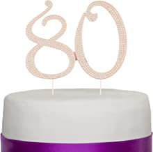 Ella Celebration 80 Cake Topper for 80th Birthday - Rhinestone Number Party Supplies & Decoration Ideas (Rose Gold)