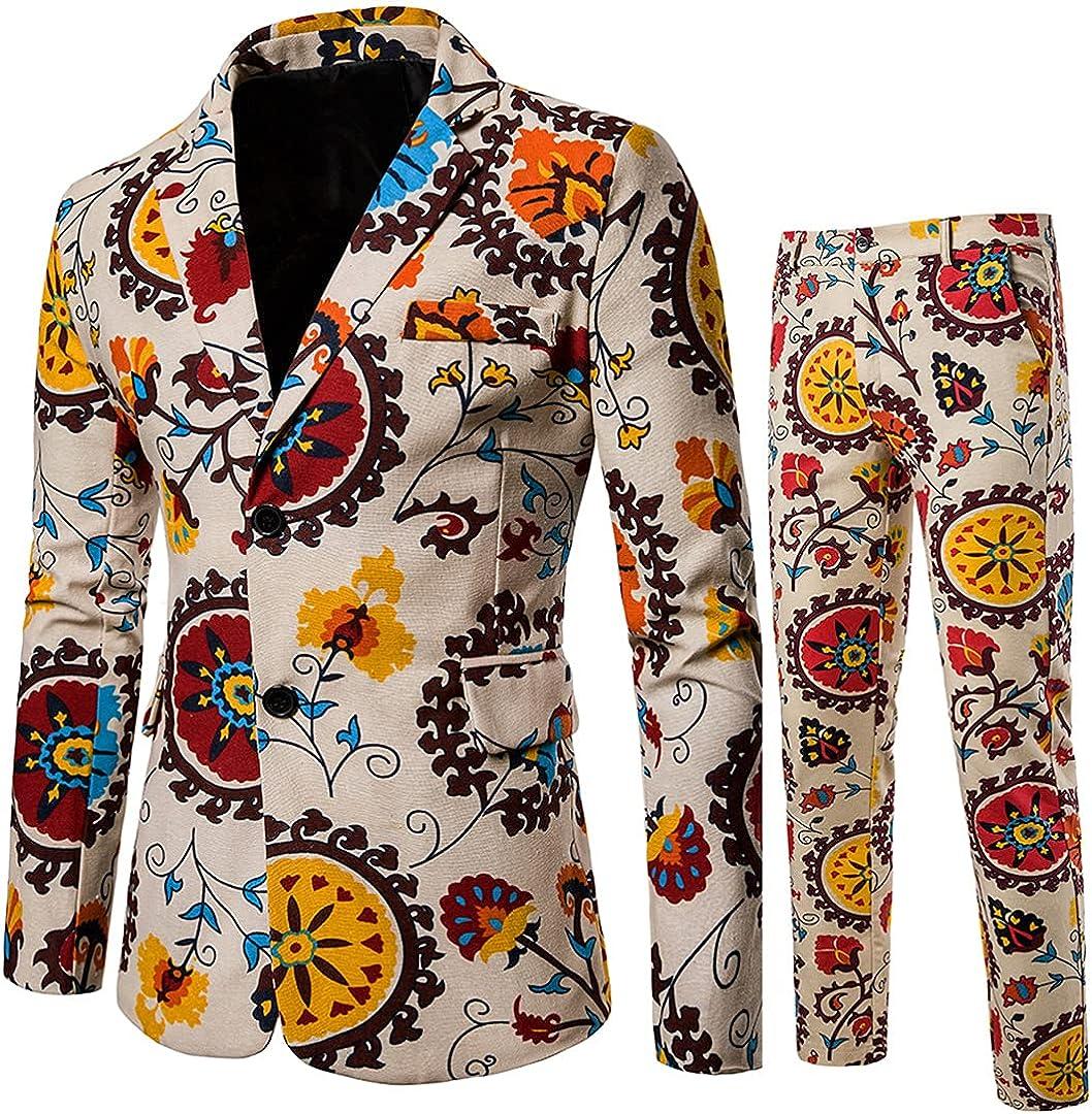 Men Long Sleeve Notched Lapel Blazer Tuxedo Set Men African Print Slim Fit Blazer Jacket and Pants