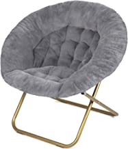 Milliard Cozy Chair/Faux Fur Saucer Chair for Bedroom/X-Large (Grey)