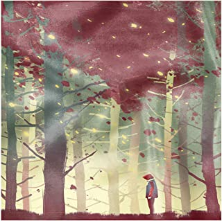 Lunarable Scenery Decorative Napkins Set of 4, Autumn Fall Seasonal Forest Leaves Leafless Braches with Beams and a Lonely Guy, Silky Satin Fabric for Brunch Dinner Buffet Party, 12