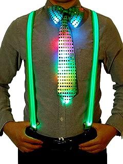 Blulu Kostüm Zubehör Sets Beinhalten Leuchtend LED Y Back Hosenträger, Vorgebundene Fliege und Krawatte für Festival Party Vorräte