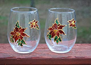2 Red Poinsettia Hand Painted Stemless Wine Glasses Set