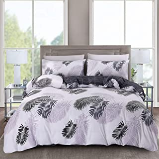 RuiJing Black and White Tropical Leaves Print Comforter Set Reversible Luxury Zipper Closure Soft 3Pcs Duvet Cover Set(1 Duvet Cover + 2 Pillow Shams)(King,Solid)