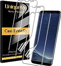 UniqueMe [3 Pack] Protector de Pantalla para Samsung Galaxy S8, [Instalación sin Agua] [Huella Digital Disponible] HD Clear TPU Case Friendly Película Flexible de Cobertura Completa