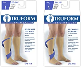 Truform Compression 20-30 mmHg Knee High Open Toe Stockings Black, Small, 2 Count